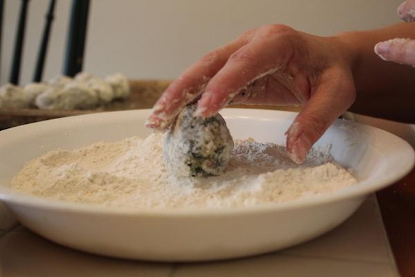 rolling in bread crumbs